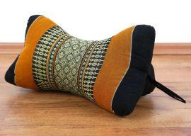 Kapok Nackenstütze, Knochenkissen,  schwarz / orange