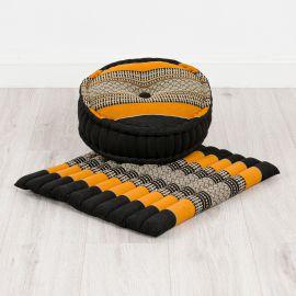 Kapok, Zafukissen mit großem Steppkissen L, schwarz-orange