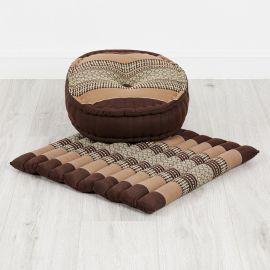 Kapok, Zafukissen mit großem Steppkissen L, braun