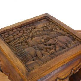 Thailändischer Opiumtisch braun mit Elefantenschnitzerei