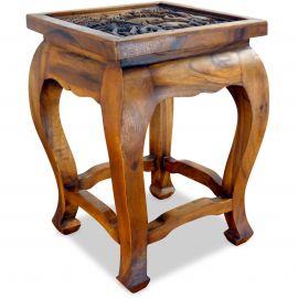 Asiatischer Tisch mit Schnitzerei, braun (hoch)