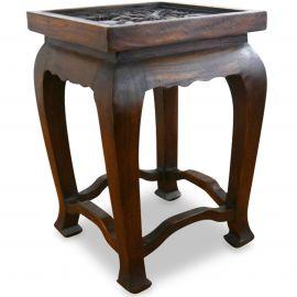 Asiatischer Tisch mit Schnitzerei, dunkelbraun (hoch)