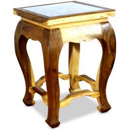 Asiatischer Tisch mit Schnitzerei, natur (hoch)