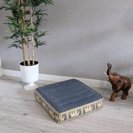(B-Ware) Nr.49 Bodensitzkissen, Meditationskissen mit Seide, grau / Elefanten
