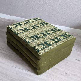 (B-Ware) Nr.87 Klappmatratze, Seide, 80cm, grün/Elefanten