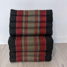 (Auslaufmodell) Nr.108 Kapok Thaikissen, Dreieckskissen, schwarz / rot, 4 Auflagen