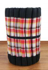 (Auslaufmodell) Kapok Rollmatte, Thaimatte, Gr. S, schwarz / rot-kariert