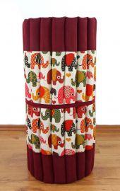 Kapok Rollmatte, Thaimatte, Gr. M, rot / bunte Elefanten