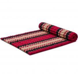 Kapok Rollmatte, Thaimatte, Gr. L, rot/schwarz