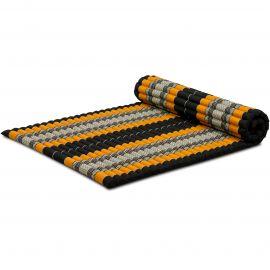 Kapok Rollmatte, Thaimatte, Gr. L, schwarz/orange