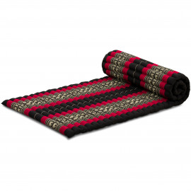Kapok Rollmatte, Thaimatte, Gr. M, schwarz/Elefanten