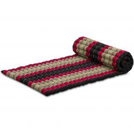 Kapok Rollmatte, Thaimatte, Gr. M, schwarz/rot