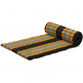Kapok Rollmatte, Thaimatte, Gr. M, schwarz/orange