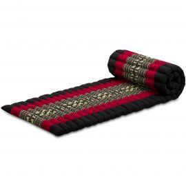 Kapok Rollmatte, Thaimatte,  Gr.S,  schwarz/Elefanten