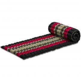 Kapok Rollmatte, Thaimatte,  Gr.S,  schwarz/rot