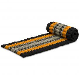 Kapok Rollmatte, Thaimatte,  Gr.S,  schwarz/orange