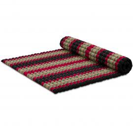 Kapok Rollmatte, Thaimatte, Gr. XL  schwarz/rot