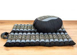 Kapok, Zafukissen mit kleiner Rollmatte XS, blau-Elefanten