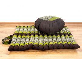 Kapok, Zafukissen mit kleiner Rollmatte XS, braun-grün