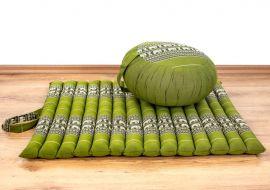 Kapok, Zafukissen mit kleiner Rollmatte XS, grün-Elefanten