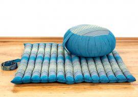 Kapok, Zafukissen mit kleiner Rollmatte XS, hellblau