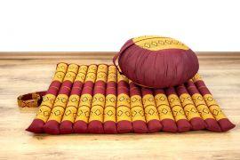 Kapok, Zafukissen mit kleiner Rollmatte XS, rot-gelb