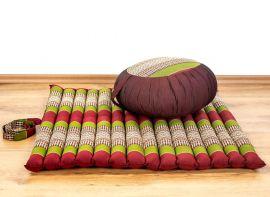 Kapok, Zafukissen mit kleiner Rollmatte XS, rot-grün