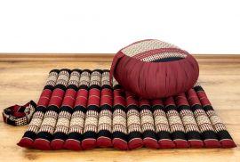 Kapok, Zafukissen mit kleiner Rollmatte XS, rot-schwarz