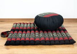 Kapok, Zafukissen mit kleiner Rollmatte XS, schwarz-Elefanten