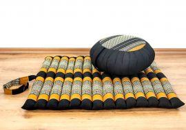 Kapok, Zafukissen mit kleiner Rollmatte XS, schwarz-orange