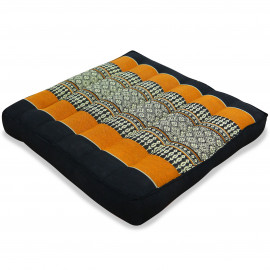 Kapok Sitzkissen, Thaikissen, Gr. M, schwarz / orange