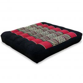Kapok Sitzkissen, Thaikissen, Gr. M, schwarz / rot