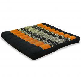 Kapok Sitzkissen, Stuhlkissen, Gr. L, schwarz / orange