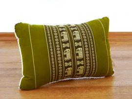 kleines Dekokissen grün / Elefanten, 33 x 22 x 13 cm