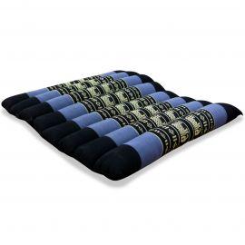 Kapok Sitzkissen, Stuhlauflage, Gr. M, gesteppt, blau / Elefanten