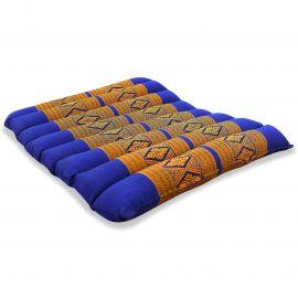 Kapok Sitzkissen, Stuhlauflage, Gr. M, gesteppt, blau / gelb