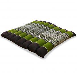 Kapok Sitzkissen, Meditationskissen, Gr. M, gesteppt, braun / grün