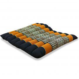 Kapok Sitzkissen, Sitzauflage, Gr. M, gesteppt, schwarz / orange