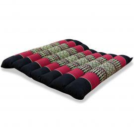 Kapok Sitzkissen, Sitzauflage, Gr. M, gesteppt, schwarz / rot