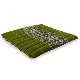 Kapok Sitzkissen, Stuhlkissen, Gr. L, gesteppt, grün / Elefanten