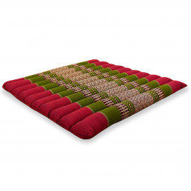 Kapok Sitzkissen, Thaikissen, Gr. L, gesteppt, rot / grün