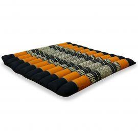 Kapok Sitzkissen, Bodenkissen, Gr. L, gesteppt, schwarz / orange
