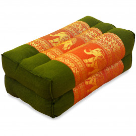 Yogakissen, Stützkissen, Seidenstickerei,  grün-orange / Elefanten