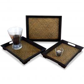 Asiatisches Tablettset aus Holz und Rattan