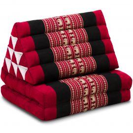Kapok Thaikissen, Dreieckskissen, rot/Elefanten, 2 Auflagen