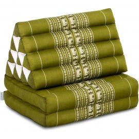 Kapok Thaikissen, Dreieckskissen, grün/Elefanten, 2 Auflagen