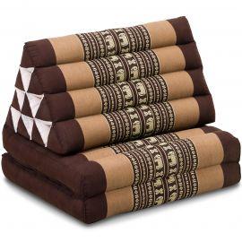 Kapok Thaikissen, Dreieckskissen, braun/Elefanten, 2 Auflagen