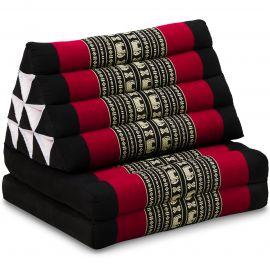 Kapok Thaikissen, Dreieckskissen, schwarz/Elefanten, 2 Auflagen