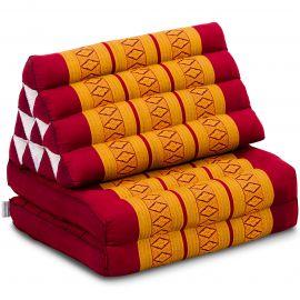 Kapok Thaikissen, Dreieckskissen, rot/gelb, 2 Auflagen