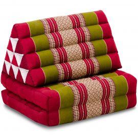 Kapok Thaikissen, Dreieckskissen, rot/grün, 2 Auflagen